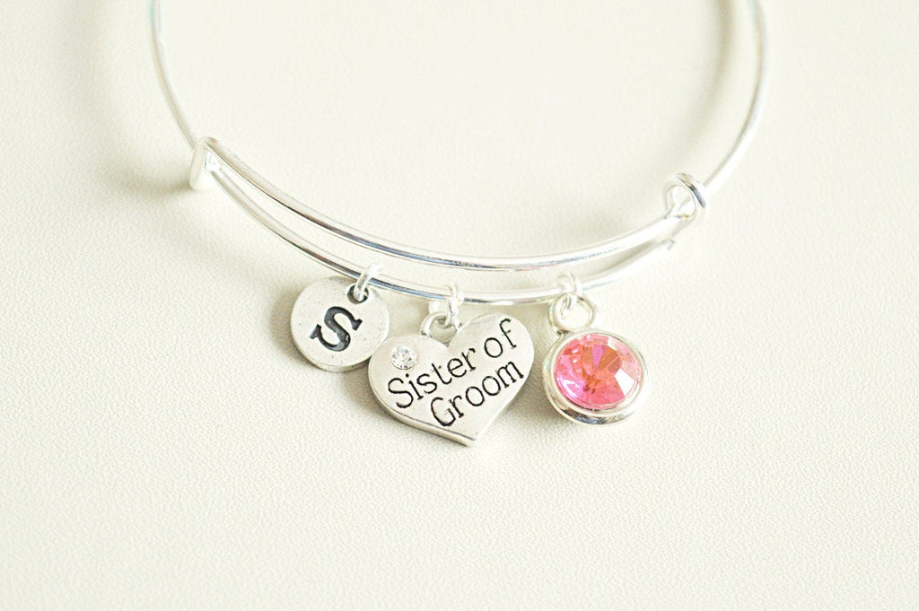 Sister of groom Gift, Sister of Groom bracelet, Personalized sister of Groom Gift, Grooms Sister, Husbands Sister, Wedding, Bridesmaid set