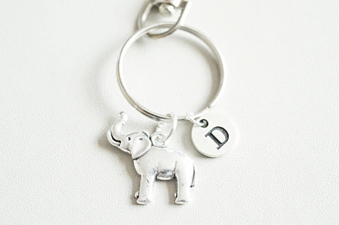Gift for friends, Animal keyring, Elephant gift ,gift for girlfriend, Animal keychain, birthstone initial, unique gift for her, birthday - YouLoveYouShop