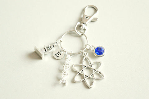 Science geek gift, science gift, science keychain, science keyring, science keychain, gift for geek, Atom, DNA, Chemist, Chemistry, Physics - YouLoveYouShop