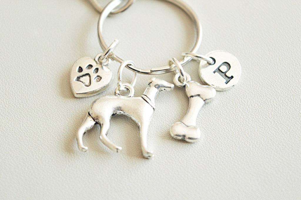 Greyhound keychain, Greyhound charm gift, Whippet Keychain, whippet Gift, Whippet keyring, Greyhound owner gift, Pet loss, Greyhound Lover