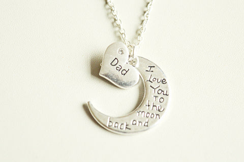 Moon and Back Dad Necklace - YouLoveYouShop