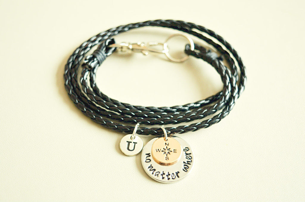 Long distance boyfriend gift, Boyfriend bracelet, long distance bracelet, distance friendship gifts,No matter where, Black leather bracelet