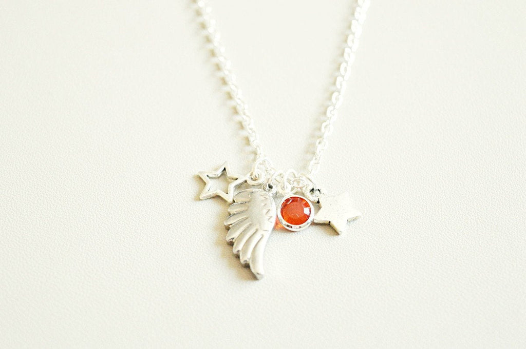 Wing Necklace, Angel Wing Necklace, Wing Jewelry, BFF Gift, Memorial Necklace, Best Friend Gift, Birthday Gift, Christmas Gift, Star, Loss
