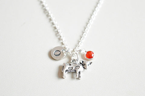 Cow Necklace, Cow Gift, Cow Jewelry, Gift for Cow Lover, Cow Birthday gift, Silver Necklace, Cow Charm, Personalized gift, Animal, Farm