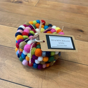FELT BALL COASTERS Set of 4
