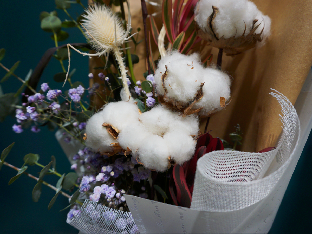 Bouquet of flowers with cotton / 03 /