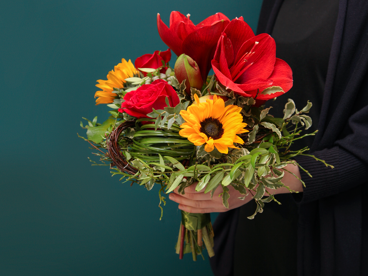 Bouquet of flowers with amaryllis
