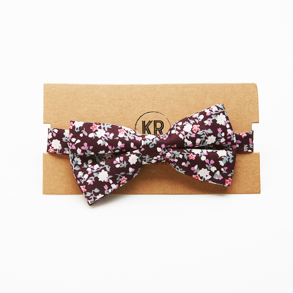 Purple Floral Bow Tie