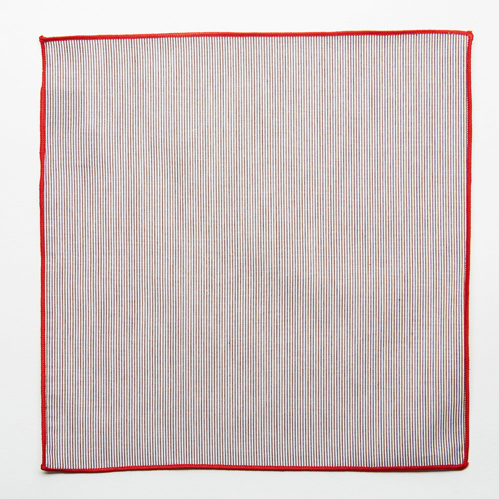 Red Edge Pocket Square