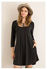 Under Your Spell Grecian Strappy Black Modal Casual Holiday Party Dress