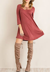 Under Your Spell Grecian Strappy Marsala Wine Red Modal Dress