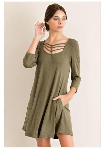 Under Your Spell Grecian Strappy Olive Green Modal Dress