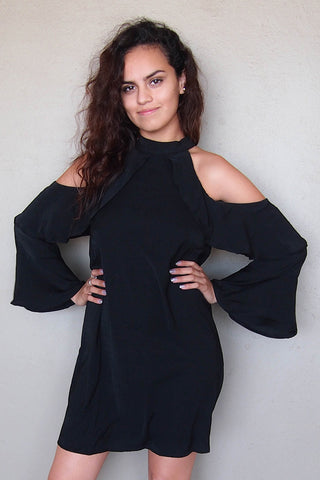 Cute Black Halter Dress - Cold Shoulder Halter Dress - Boutique Little Black Dress