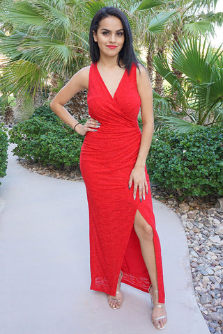 Red Holiday Party Dress - Long Red Holiday Party Dress