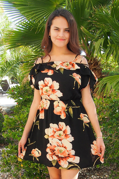 All Mine Black Floral Print Ruffle Lace Up Skater Dress