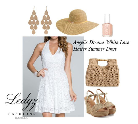 Angelic Dreams White Lace Halter Summer Evening Party Wedding Cocktail Dress