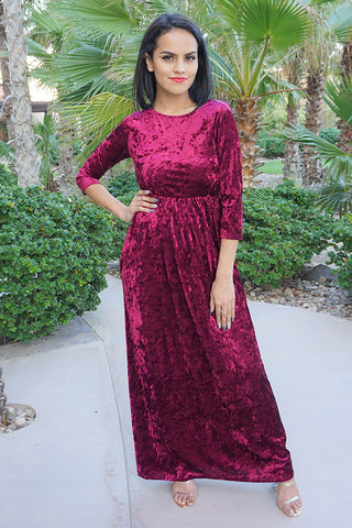 Chic Burgundy Maxi Dress - Long Velvet Holiday Party Dress