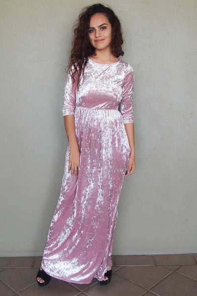 Stylish Pink Velvet Maxi Dress - Pink Holiday Maxi Dress - Long Holiday Party Dress