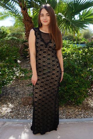 Long Black Sequin Dress - Stunning Lace Sequin Dress - Sequin Maxi Dress