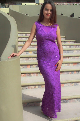 Stunning Lace Gown - Purple Lace Gown - Purple Evening Gown
