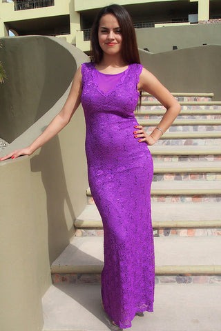 Long Purple Lace Prom Dress - Red Carpet Prom Dress - Purple Lace Prom Dress