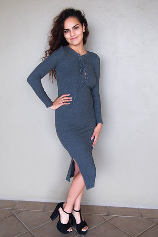 Sexy Grey Sweater Dress - Sexy Lace-Up Dress - Sexy Long Sleeve Dress