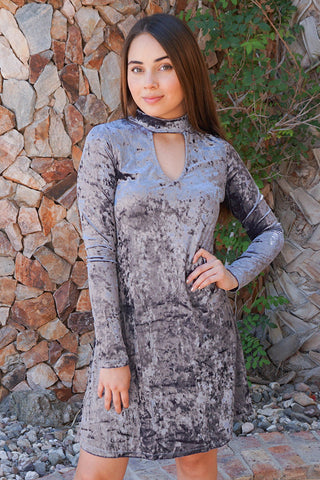 Stunning Velvet Holiday Dress - Cute Silver Dress For Holiday Parties