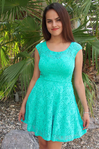Mint Lace Graduation Dress - Lace Mini Graduation Dress - Green Graduation Dress