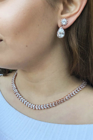 Rose Gold Prom Necklace - Prom Rhinestone Necklace - Necklace - $50