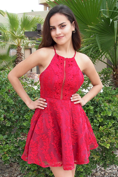 Cute Red Dresses - Red Embroidered Dress - Red Cut Out Dress