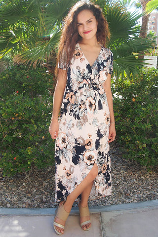 Floral Print Wedding Guest Dress - High Low Wedding Guest Dress