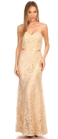 Eva Kind Of Love Champagne Lace Strapless Maxi Dress - Ledyz Fashions