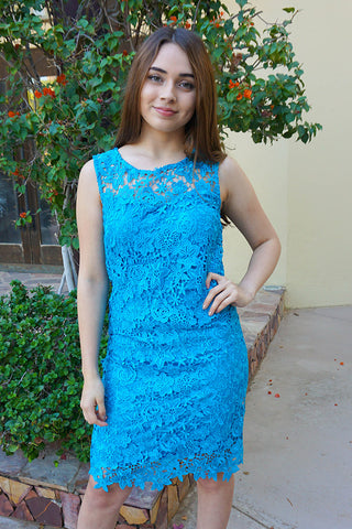 Blue Wedding Guest Dress - Lace Dress For Attending A Wedding