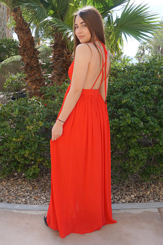 Stunning Red Evening Dress - Backless Evening Dress - Plunge Evening Dress