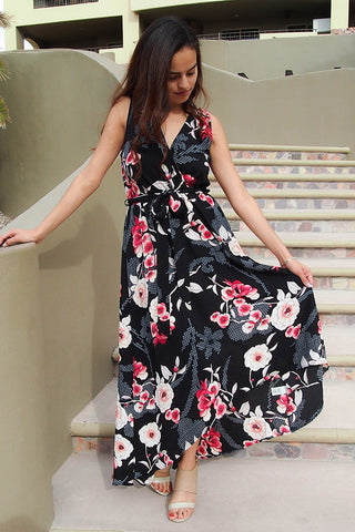 Everyday Occasion Midnight Black Floral Print High-Low Maxi Dress