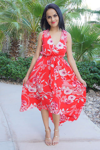 Everyday Occasion Vibrant Red Floral Print High Low Maxi Dress