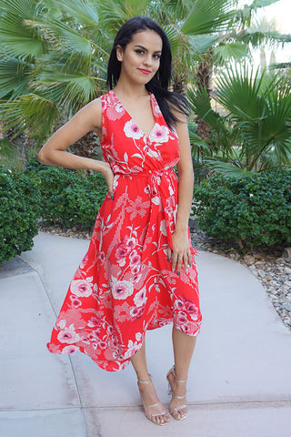 Chic Red Floral Print Maxi Dress - Floral Maxi Dress - Long Floral Print Dress