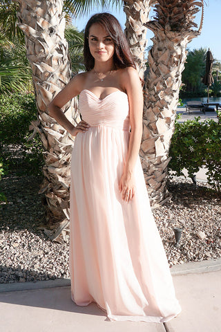 First Comes Long Blush Pink Strapless Maxi Dress