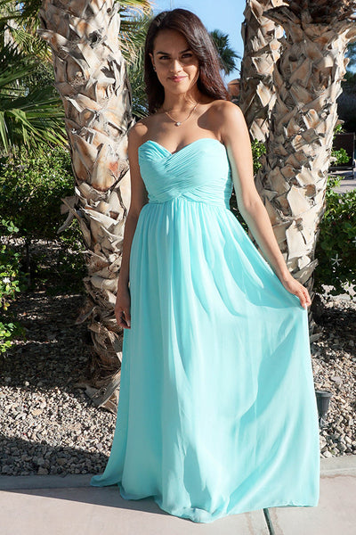 First Comes Love Light Blue Strapless Maxi Dress