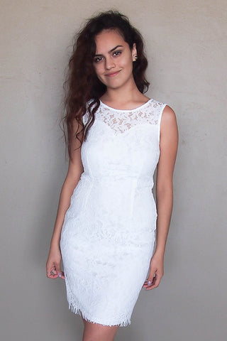 White Lace Sheath Dress - White Sheath Dress