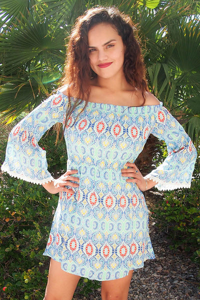 Blue Off The Shoulder Dress - Long Sleeve Dress - Cute Print Dress