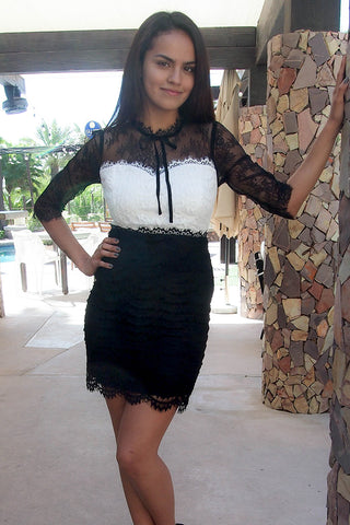 Chic Black And White Lace Dress - Lace Bodycon Dress