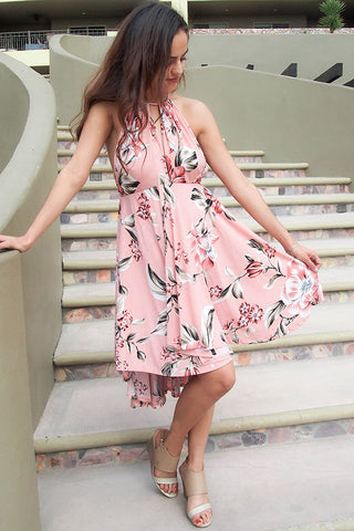 Cute Print Dress - High Low Halter Dress - Flowy Peach Dress