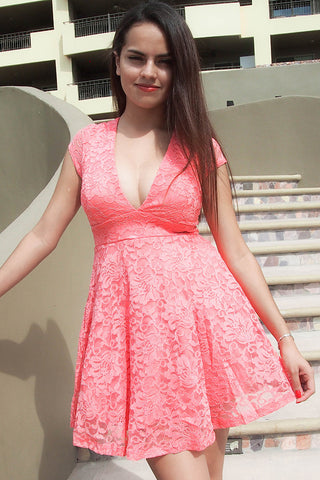 Peach Lace Dress - Lace Cocktail Dress - Pink Skater Lace Dress