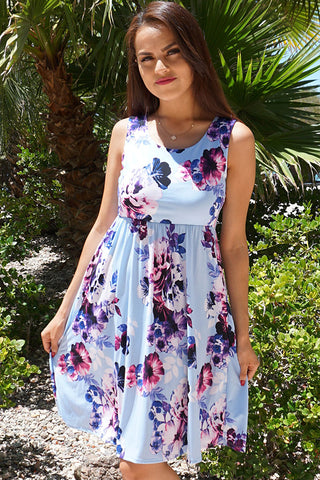 Chic Blue Floral Print Dress - Sleeveless Dress - Floral Dress