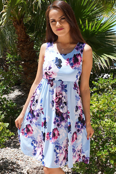 Chic Floral Print Dress - Sleeveless Dress - Cute Midi Dress With Pockets