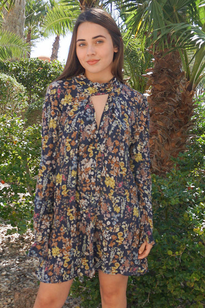 Cute Floral Print Dress - Boutique Swing Dress - Long Sleeve Dress