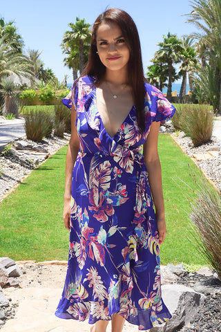 Cute Blue Maxi Dress - Floral Print Flowy Dress - Wrap Maxi Dress