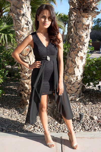 Perfect Evening Black Lace High Low Maxi Dress