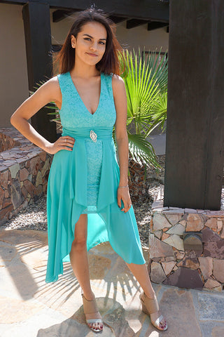 Luxurious Mint Lace Dress - High Low Maxi Dress